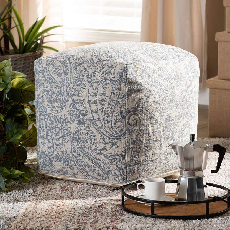 Baxton Studio Juvita Gray and Blue Paisley Pouf