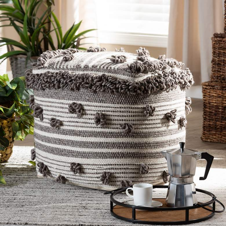 Eligah Ivory and Brown Moroccan Inspired Pouf Ottoman