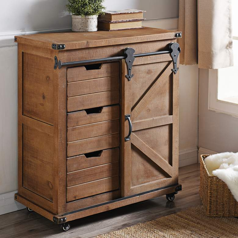 "Graham 33"" Wide Natural Wood 3-Drawer 1-Door Cart"