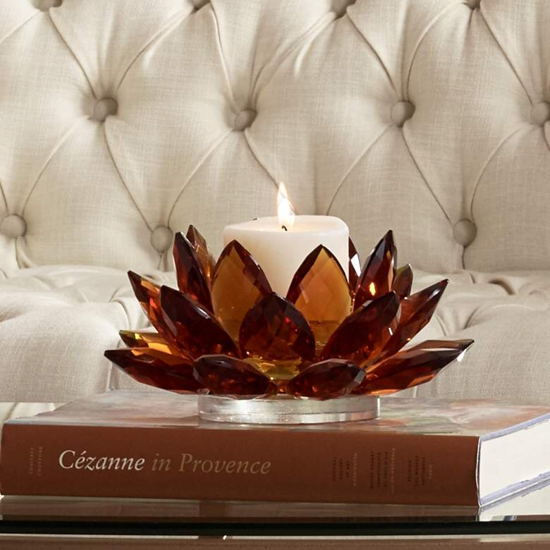 "Amber Glass 9 1/4"" Wide Crystal Lotus Candle"