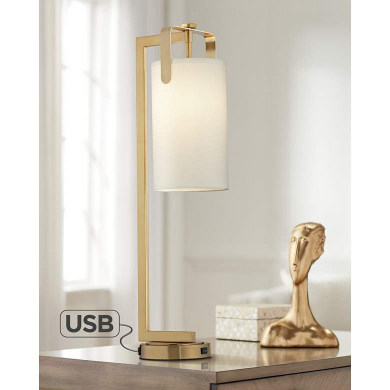 Kinzie Warm Gold Metal Downbridge Table Lamp with USB Port