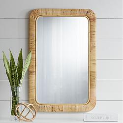 "Westby 24"" x 36"" Rattan Wrapped Wall Mirror"