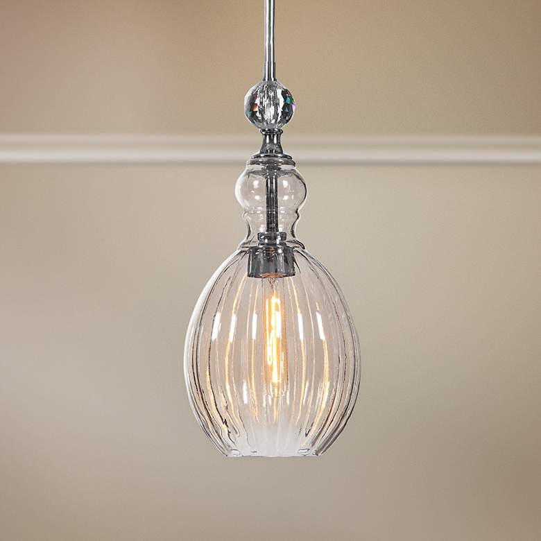 "GiGi 9"" Wide Nickel Silver and Glass Mini Pendant Light"