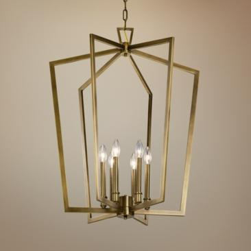 "Abbotswell 24 3/4"" Wide Natural Brass 6-Light Foyer Pendant"
