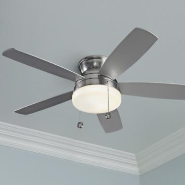 "52"" Monte Carlo Traverse Brushed Steel LED Ceiling Fan"