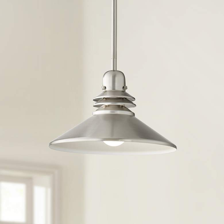 "Kichler Grenoble 11""W Brushed Nickel 1-Light Mini Pendant"