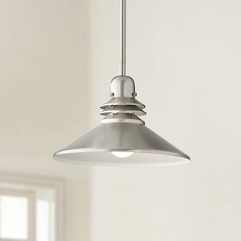 "Kichler Grenoble 11"" W Brushed Nickel 1-Light Mini Pendant"