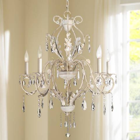 Kathy Ireland Devon 5 Light Antique White Crystal