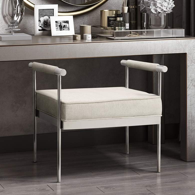 Diva Cream Velvet Bench with Arms