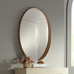 "Harnes Gold 24 1/4"" x 36"" Oval Wide Lip Wall Mirror"