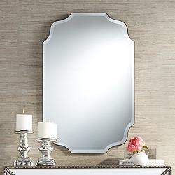 "Vita Oval Wave Edge 23 1/2"" x 36"" Frameless Wall Mirror"