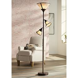 Plymouth Bronze Mica Shade Torchiere Floor Lamp