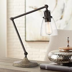 Sperry Bronze and Faux Wood Finish Adjustable Desk Lamp