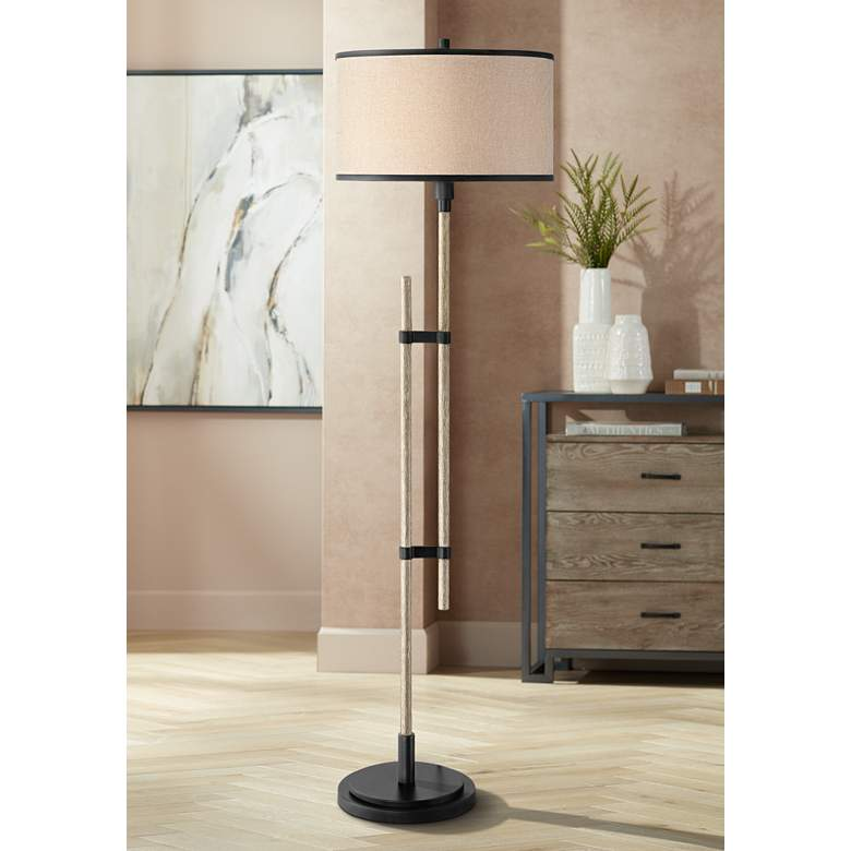 Possini Euro Andover Bronze and Faux Wood Rustic Floor Lamp