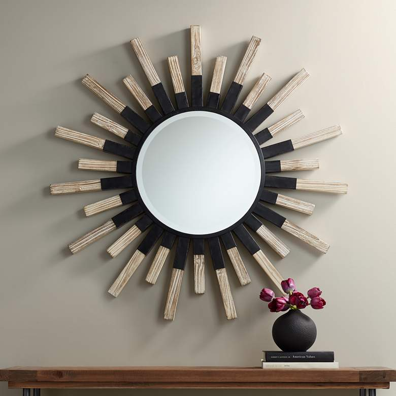 "Mallie 42"" Round Black Metal Whitewash Sunburst Wall Mirror"