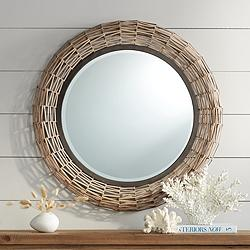 "Aptos Natural Rattan Weave 32"" Round Wall Mirror"