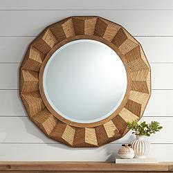 "Preston Dark Rattan 36"" Round Angled Framed Wall Mirror"