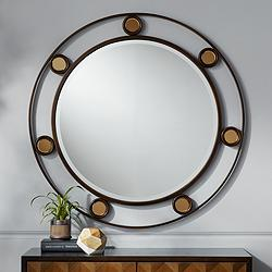 "Declan Dark Brown and Copper 33"" Round Wall Mirror"