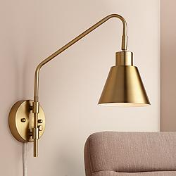 Marybel Antique Brass Downlight Plug-In Swing Arm Wall Lamp