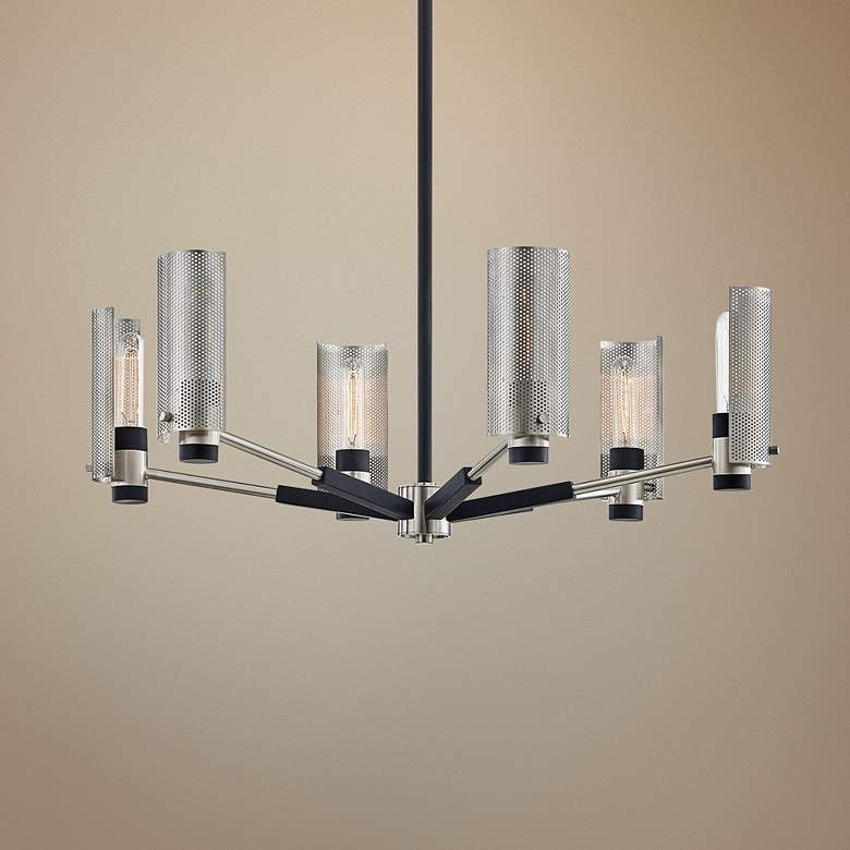 "Pilsen 30"" Wide Carbide Black and Nickel 6-Light Chandelier"