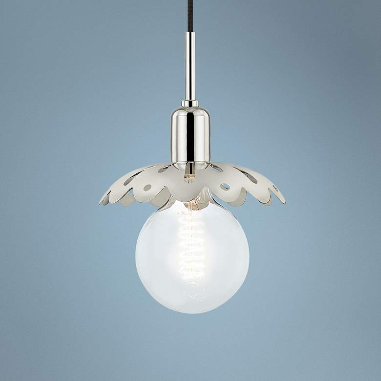 "Mitzi Alyssa 8"" Wide Polished Nickel Mini Pendant"