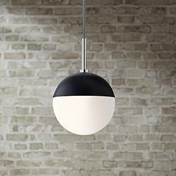 "Mitzi Renee 6 3/4""W Polished Nickel and Black Mini Pendant"