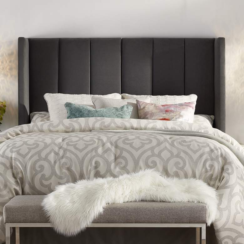 Delway Channel Tufted Gray Velvet Queen Hanging Headboard