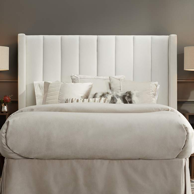 Trent Channel Tufted White Fabric Queen Hanging Headboard