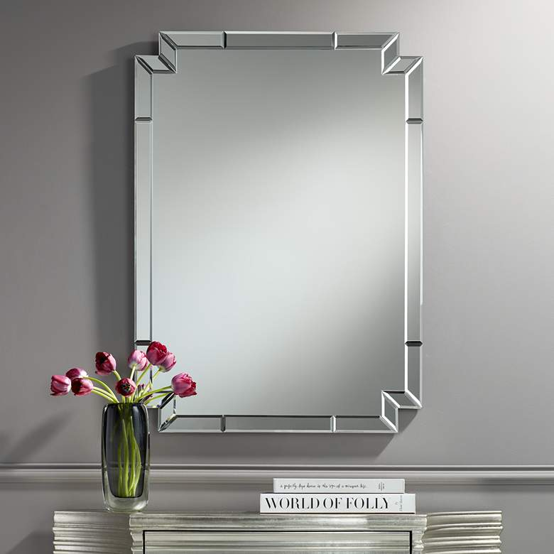 "Possini Euro Redi 26"" x 36"" Cut Corner Edge Wall Mirror"