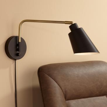 Nanaimo Bronze and Antique Brass Plug-In Swing Arm Wall Lamp