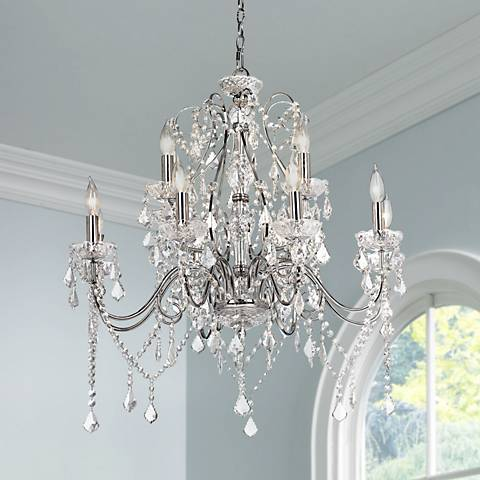 "Grace 30"" Wide Chrome and Crystal 12-Light Chandelier"