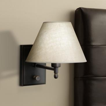 Meilleur Patina Bronze Linen Shade Plug-In Wall Lamp