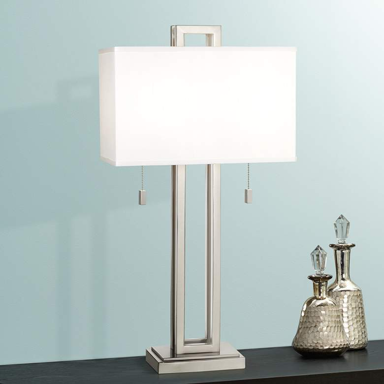 Possini Euro Design Brushed Nickel Rectangle Table Lamp