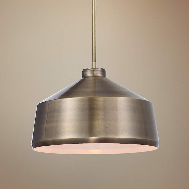 "Holgate 14""W Oxidized Aged Brass Dome Metal Pendant Light"