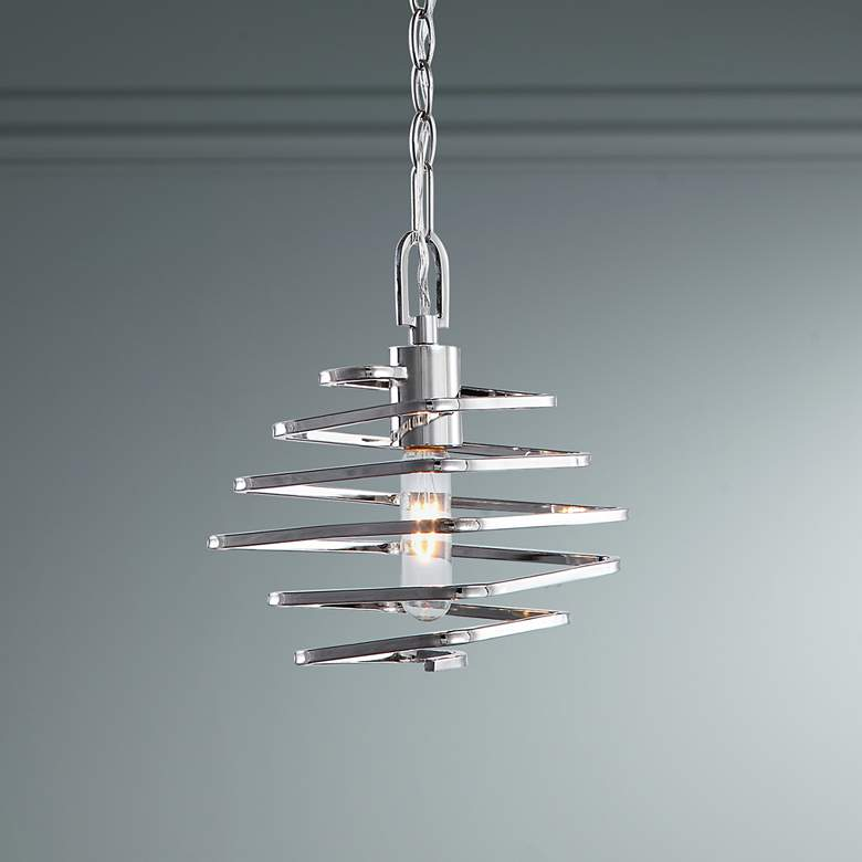 "Coillir 8"" Wide Polished Nickel Coil Mini Pendant Light"