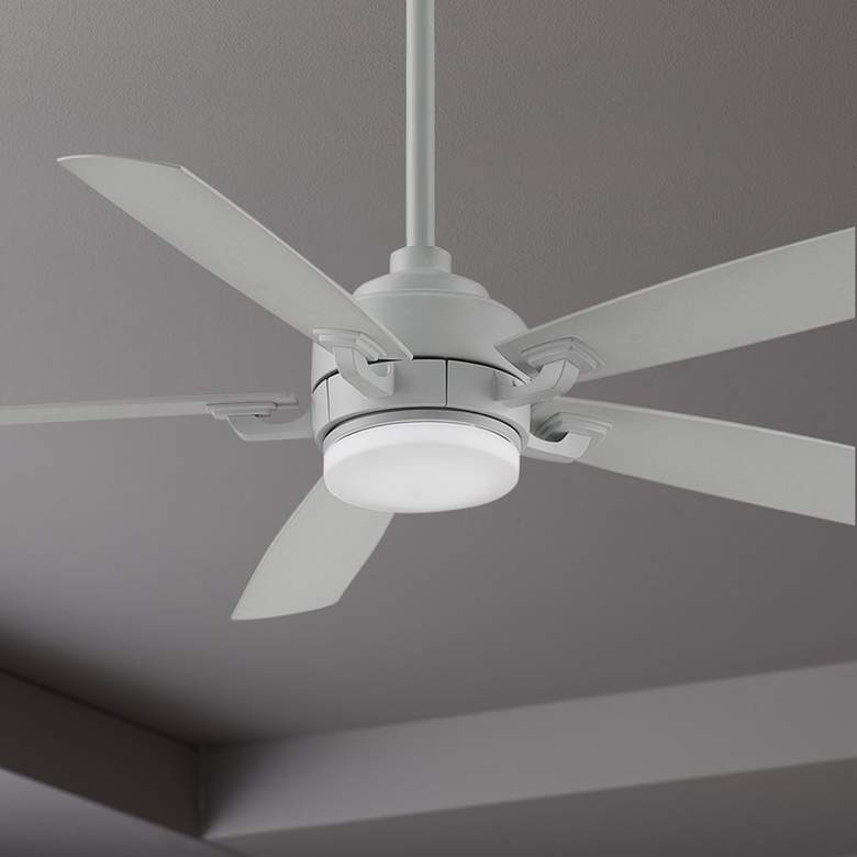 "52"" Fanimation Benito V2 Matte White LED Damp Ceiling Fan"