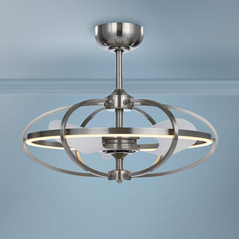 "27.25"" Maxim Corona Satin Nickel LED Fandelier Ceiling"