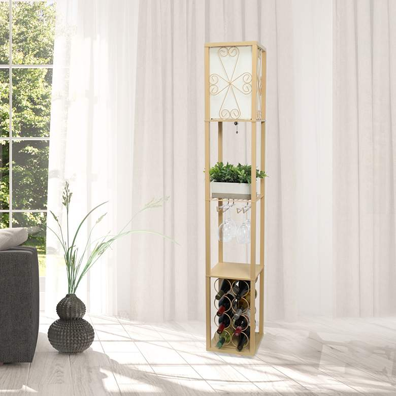 Simple Designs Tan Etagere Floor Lamp with Storage and Shelf