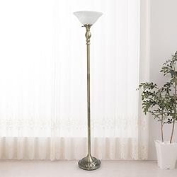 Elegant Designs Antique Brass Metal Torchiere Floor Lamp