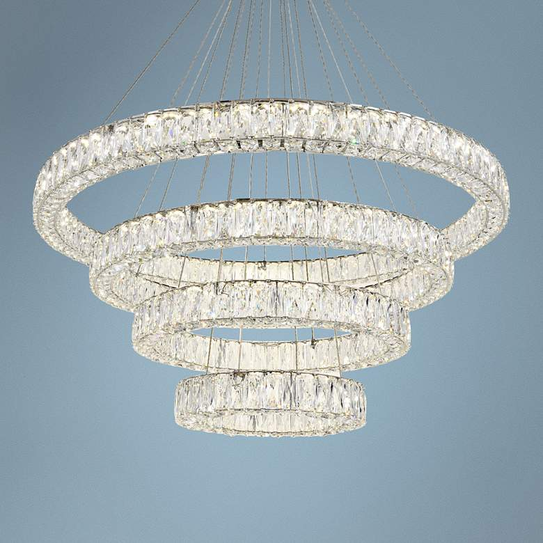 "Monroe 42"" Wide Chrome and Crystal 4-Tier LED Chandelier"