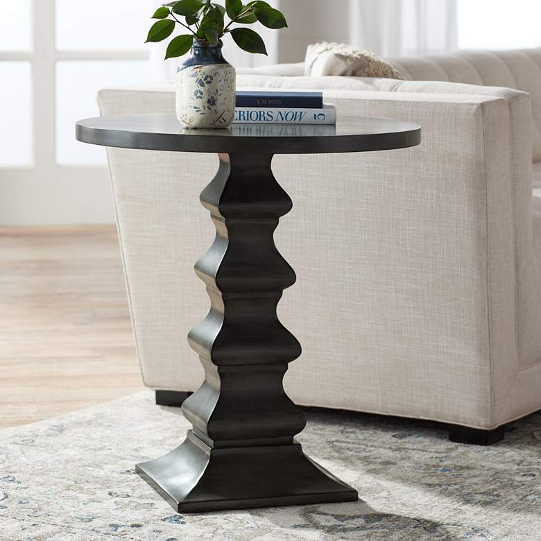 "Ludlow 28"" High Gray Slate Accent Table"
