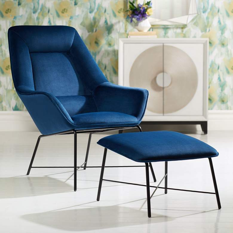 Hemingway Blue Velvet Lounge Chair with Ottoman
