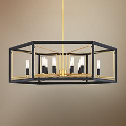 "Sable Point 26"" Wide Black and Gold 12-Light Pendant Light"