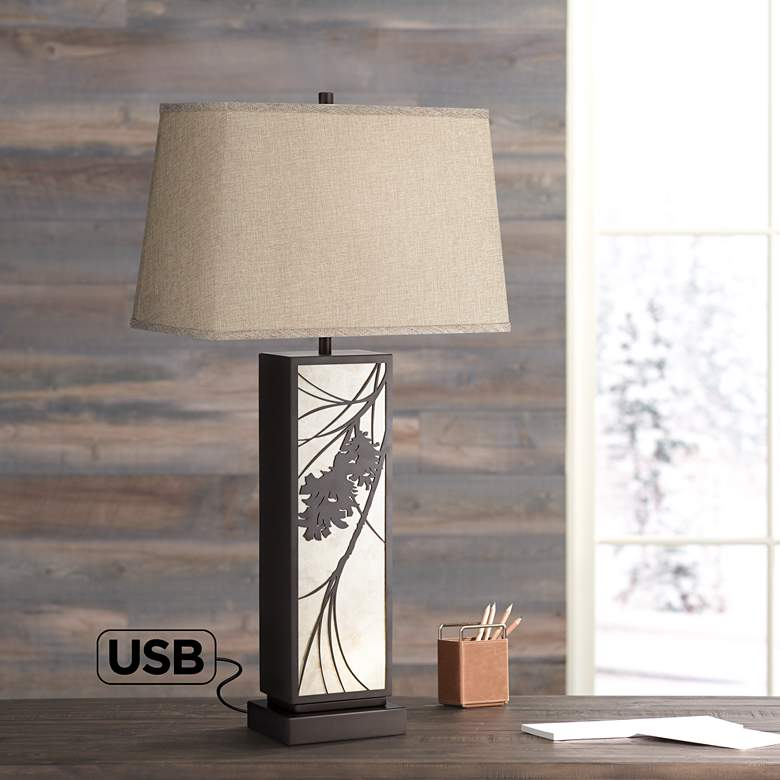 Brookline Bronze Metal USB Table Lamp with Night