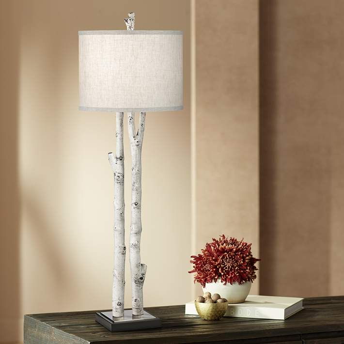 White Forest Natural Birch Tree Branch Buffet Table Lamp 77p25