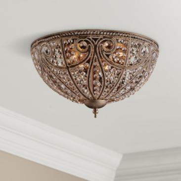 "Elizabethan Collection 17"" Wide Bronze Ceiling Light Fixture"