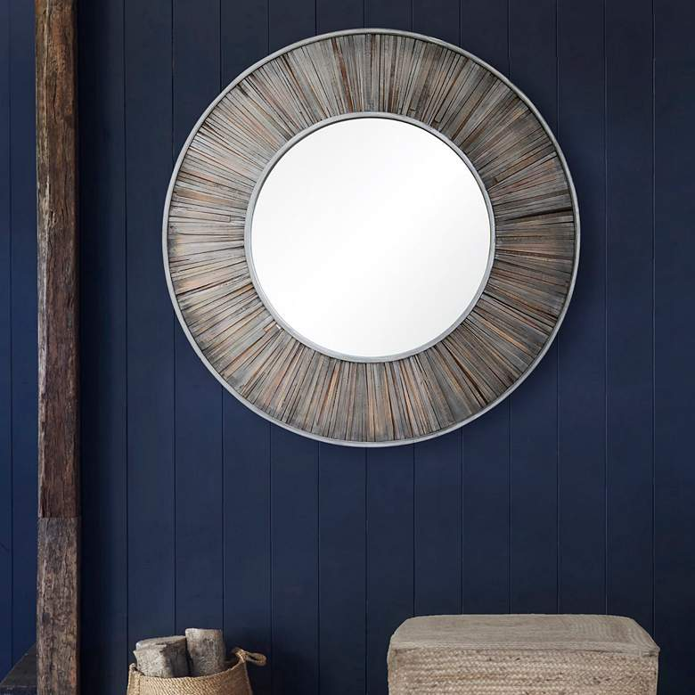 "Maddy Dark Gray Wood 45"" Round Wall Mirror"