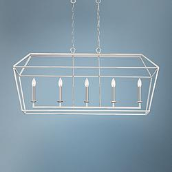 "Aviary 42"" Wide Polished Nickel Kitchen Island Light Pendant"