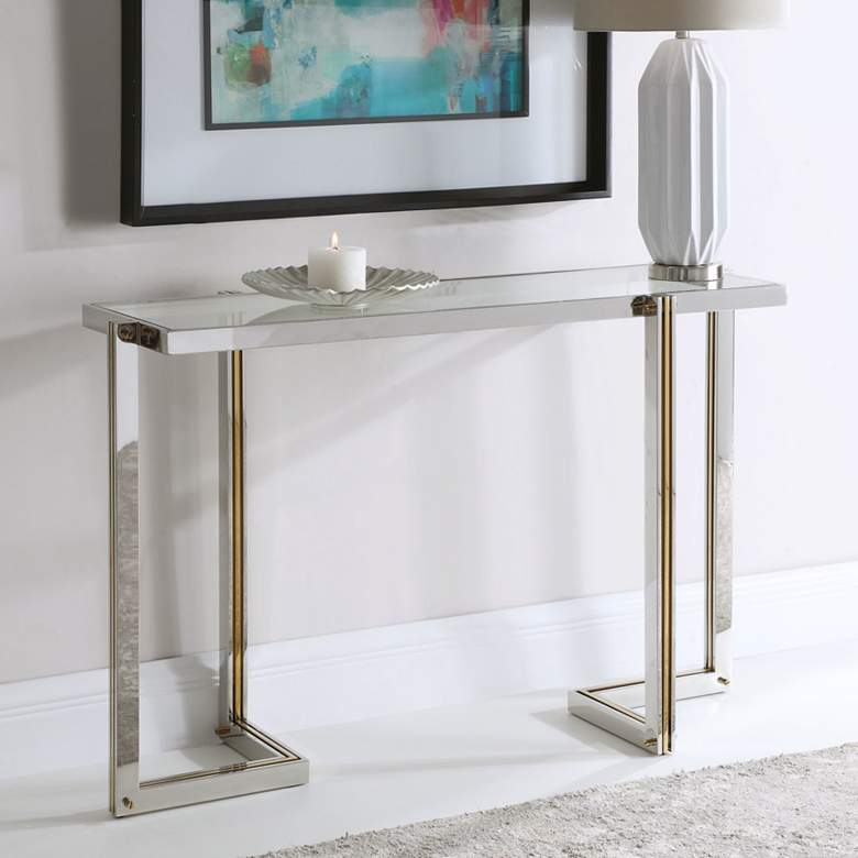 "Uttermost Locke 50 3/4"" Wide Polished Nickel Console Table"