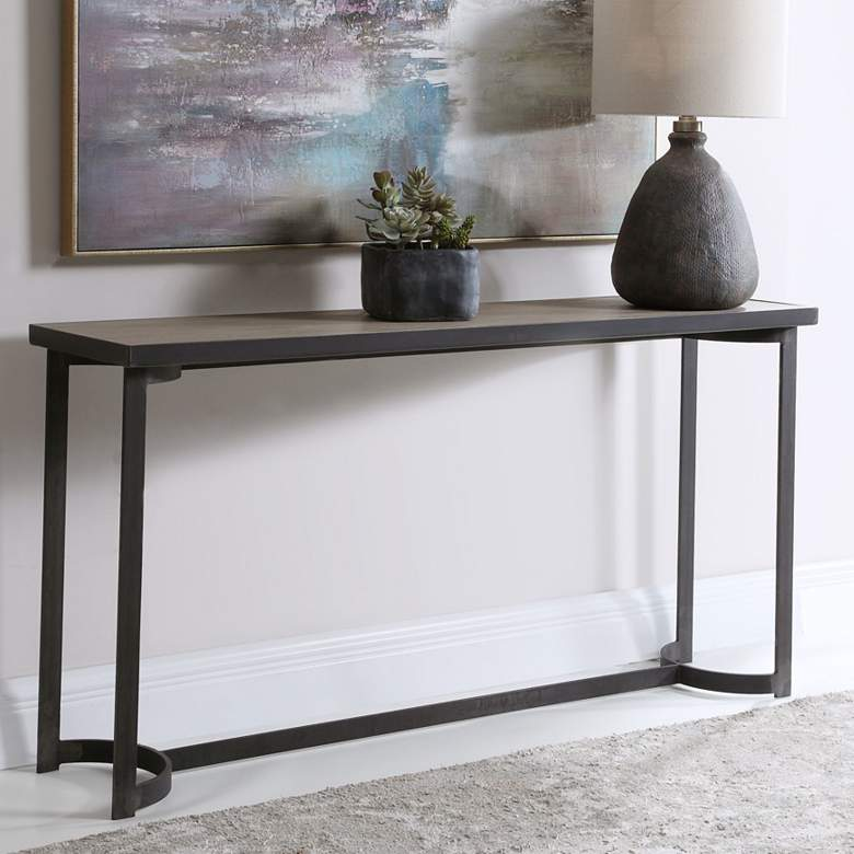 "Basuto 62"" Wide Aged Steel Console Table with"